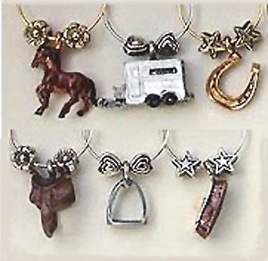 Equestrian Painted Wine Glass Charms