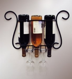 Wire 3 Bottle Wall Glass Holder
